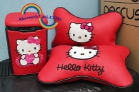 tempat sampah mobil + bantal headrest hello kitty
